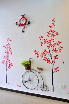 Home decor IDEA: Red tree sticker with old bike on the wall #homedecorideas