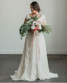 modest wedding dress with cap sleeves from alta moda. (modest bridal gowns)
