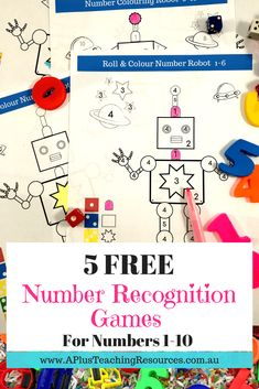 Your kids will love this Robot math game for teaching number recognition. Use it in your math rotations for independent work or play as a game in pairs. Students will learn number s, number names and subitise when they Roll the dice and colour the matchin Math Activities For Kids, Math For Kids, Preschool Learning, Kindergarten Math, Counting Activities, Early Learning, Teacher Freebies, Classroom Freebies, Number Recognition Games