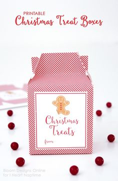 Christmas Treats Printable Box - free download, perfect for filling with sweets, treats, and gift cards!