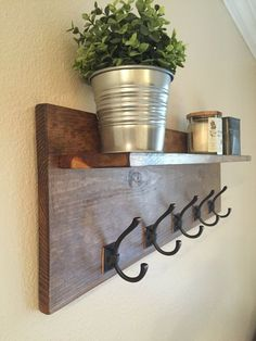 Rustic Wall Mounted Coat Rack with Shelf // by WillsWorkshoppe