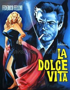 #LaDolceVita 1960 #Federico #Fellini #movieposters #MarcelloMastroianni #AnitaEkberg  original #painting artwork