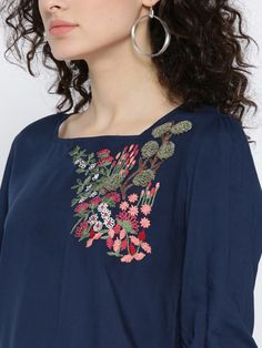 Buy SCOUP Women Olive Green Embroidered Top With Ruffles - Tops for Women 2386675 | Myntra Embroidery On Kurtis, Kurti Embroidery Design, Hand Embroidery Dress, Embroidery On Clothes, Embroidery Fashion, Silk Kurti Designs, Kurta Designs Women, Girls Kurti, Eastern Dresses