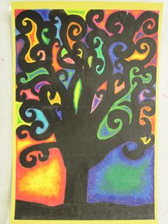 Inspired by Klimt's Tree of Life-elementary art lesson