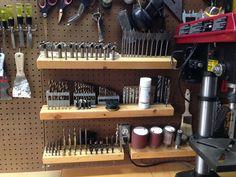 Drill Bit Storage Easy To Adapt To French Cleat Garage Workshop Storage, Workshop Organization, Home Workshop, Shed Storage, Garage Workshop, Tool Storage, Garage Storage, Diy Storage, Storage Ideas