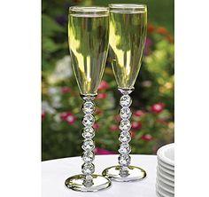 Diamond Stemmed Wedding Flutes