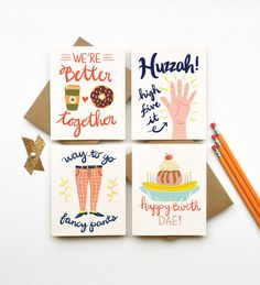 Buy 3 Get 1 FREE greeting cards stationery by littlelow on Etsy, $12.00