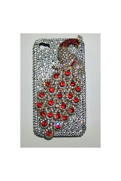 SALE20%OFF: Bling Red Peacock case for iPhone 4 4S made by Swarovski Crystals phone Case