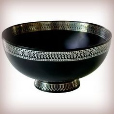 This beautiful 'Bidriware' bowl belongs to the small town of Bidar renowned for its unique metalware. Bidar is a district in the state of Karnataka in  South India. 'Bidri' is a 14th century art and was a dying art but was revived by one Md. Salimuddin who after his post-graduation decided to use the skills taught to him by his parents and take it to a global platform. @StoreIndya - We have a range of such beautifully hand-crafted products and a variety of other wooden handicrafts as well.