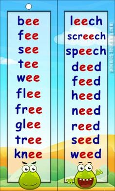 ee words - Free Printable Phonics Word List - Ideal for phonics practice or phonics revision. Phonics Chart, Phonics Flashcards, Phonics Worksheets, Phonics Activities, Printable Worksheets, Phonics Reading, Teaching Phonics, Teaching Reading, Learning