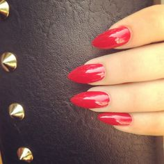 Hot red nails. pointy