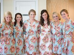 Beautiful floral robes as bridesmaid gifts. Photo by Simple Color Photo #alabamaweddings #thesonnethouse #southernweddings