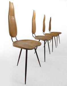 Carlo Mollino; Wood and Enameled Metal Chairs for the Mollino House, 1947.