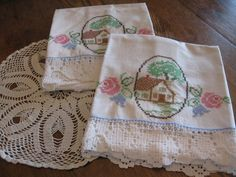 Pineapple House Antiques ~ Vintage Cross-Stitch House Pillowcases with Lace Edging!