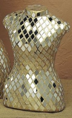 Small Mirrored Mosaic Dress Form with Gold Grout Mirror Mosaic, Mosaic Diy, Mosaic Crafts, Mirror Art, Mosaic Glass, Stained Glass, Mosaic Ideas, Mannequin Art, Dress Form Mannequin