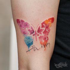 Cherry blossom butterfly :) - #타투 #그라피투 #타투이스트리버 #디자인 #그림 #디자인 #아트 #일러스트 #tattoo #graffittoo #tattooistRiver #design #painting #drawing #art #Korea #KoreaTattoo #butterfly #watercolor #watercolortattoo #나비타투 #수채화 #수채화타투