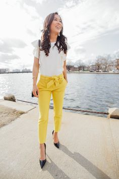 Yellow tie-waist pants for work and weekend