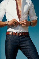 Belt, $360, by Salvatore Ferragamo Shirt, Saturdays NYC Jeans Fabric-Brand & Co. Bracelets, from left Degs & Sal, Chamula, Degs & Sal, Miansai, George Frost Watch, Cartier Ring, David Yurman