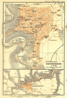 Rothenburg Original Antique City Map 1925, Street Plan, Germany