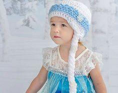 Elsa Inspired Hat - Crochet - Photo Prop - Newborn - Toddler - Girl - Adult - Frozen - Disney Princess - Ice Queen