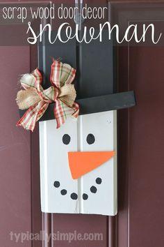 Scrap Wood Door Decor - Snowman