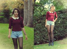 H&M Black Boots, Black Tights, Levi's Vintage Shorts, H&M Coral Peter Pan Collar Top, H&M Burgundy Sweater