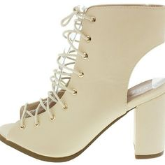 CALANDRA22 Taupe lace up booties..sexy little heel to pair with boyfriend jeans, cute mini skirt and more!  Sizes 5.5-10 available now   If interested please DON'T BUY THIS LISTING!  Inquire and I will create an additional listing  HAPPY POSHING Shoes Ankle Boots & Booties
