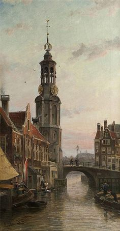 Cornelis Christiaan Dommelshuizen (Utrecht Den Haag) A view of the Munttoren, Amsterdam - Dutch Art Gallery Simonis and Buunk Ede, Netherlands. Great Paintings, Old Paintings, Beautiful Paintings, Victorian Paintings, Amsterdam City, Dutch Painters, Dutch Artists, Art For Art Sake, Fantasy Landscape