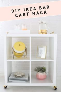 Ikea Kallax Inspiration & Hacks for every room. Loads of simple ideas for using Ikea Kallax shelf or Expedit shelf to organise your home in style! Ikea Bar Cart, Diy Bar Cart, Bar Carts, Diy Interior, Ikea Hacks, Hacks Diy, Kallax Shelf, Ikea Kallax, Ikea Grundtal