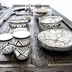 Black and white Moroccan ceramics.