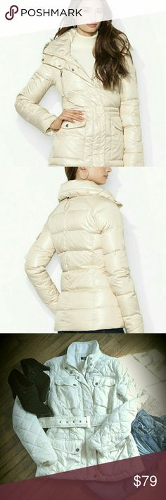 PRICE DROP!  Ralph Lauren Puffer Jacket High quality jacket in excellent condition!  Cream color diamond pattern  with two top and 2 waist pockets. Removable, adjustable belt. Two way zipper..open at bottom and top. Super lightweight,  yet warm! Size small. 100% outer nylon. 100% polyester filling. First 2 photos are Ralph Lauren,  different style. Retail $190 Ralph Lauren Jackets & Coats Puffers