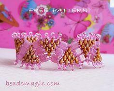 Free pattern for beaded bracelet Princess Crown U need: toho seed beads 11/0 Czech tila