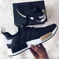 Womens Adidas black NMD black white and tan trainer shoe Womens Adidas schwarz NMD schwarz wei Adidas Nmds, Adidas Women, Adidas Nmd Women Outfit, Adidas Shirt, Black Nike Shoes, Black Nikes, Black Running Shoes, Cute Shoes, Adidas Sneakers
