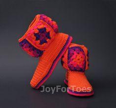 #Crochet #Women #Boots #Slippers for the #House #Orange by #JoyForToes
