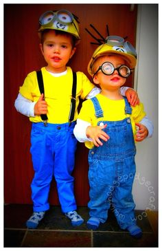 Easy, cheap tutorial for a DIY Minion costume: hard hats, Gru logo, goggles and crazy hair - great fancy dress outfit for a Halloween party.