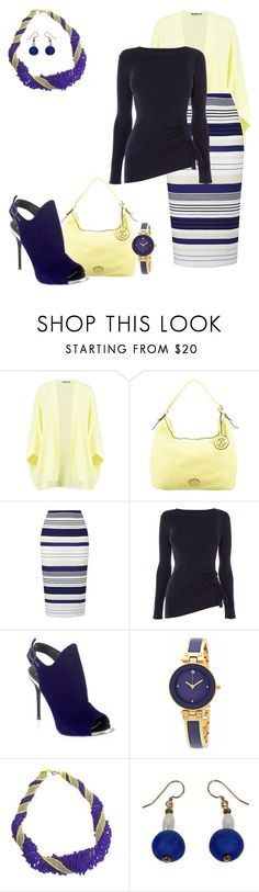 """yellow and blue"" by tabby125 ❤ liked on Polyvore featuring Boohoo, Christian Lacroix, Karen Millen, Giuseppe Zanotti, Anne Klein and NOVICA"