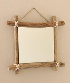 Mirror Saint Egarec - reference Mirror Driftwood to hang on wall with four Driftwood embellished white cord. The mirror dimensions: 20 x 20 cm (Lxh) product dimensions: 31 x 31 cm Product weight: Driftwood Wall Art, Driftwood Crafts, Photo Frame Design, Branch Decor, Diy Mirror, Diy Frame, Wood Art, Diy Furniture, Picture Frame Crafts