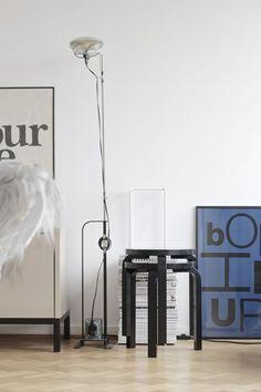 Toio Floor Lamp by Achille and Pier Giacomo Castiglioni Stool 60 by Alvar Aalto for Artek