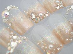 . Wedding Day Nails, Wedding Manicure, Mani Pedi, Pedicure, Manicure Ideas, Bridal Nail Art, Japanese Nails, Fancy Nails, Wedding Wishes