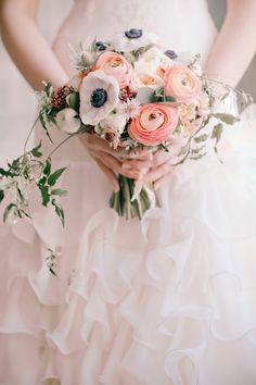 Anemone, vine, and ranunculus bridal bouquet, small but cute! I love the leafs that poking out the bouquet. Small Bridal Bouquets, Bride Bouquets, Bridal Flowers, Floral Bouquets, Pink Flowers, Exotic Flowers, Yellow Roses, Fresh Flowers, Pink Roses