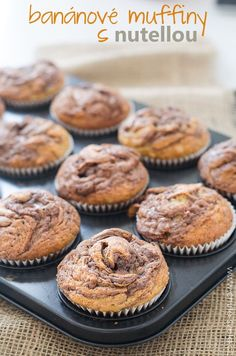 banánové muffiny s nutellou