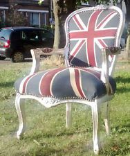 Pedicure chair - Shabby Chic comfy Union Jack French Louis style arm chair studded upholstery