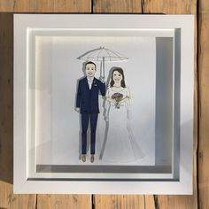 chunkydumpling shared a new photo on Etsy Pen And Watercolor, Watercolor Pencils, Deep Box Frames, Sharpie Pens, Portrait Illustration, Paper Dolls, My Drawings, Bride Groom, Weddingideas