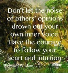 Don't let the noise of others opinions....