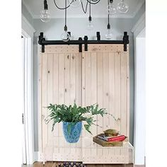 WinSoon 5FT Antique Bypass Double Sliding Barn Wood Door Hardware Cabinet Closet System Black #closetorganizers