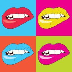 Popart dudaklar - Duvar Kağıdı