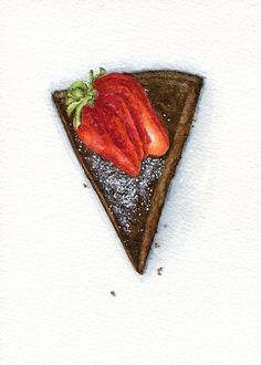 Chocolate Cake With Strawberry On Top  ORIGINAL por ForestSpiritArt, £22.00