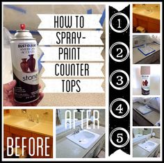 How to spray paint counter tops tutorial. (Something I wish I had the nerve to do, because I hate our kitchen counter top.)