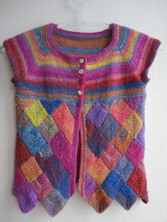 Girls hand knitted vest in Noro yarn, Multicolor, Entrelac- ready to ship. $59.00, via Etsy.