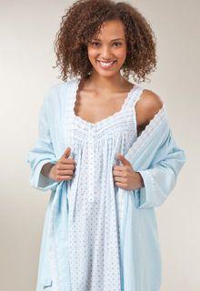 8482abd4d4 Seersucker Wrap Robe with Matching Night Gown - Eileen West Cotton  Nightwear